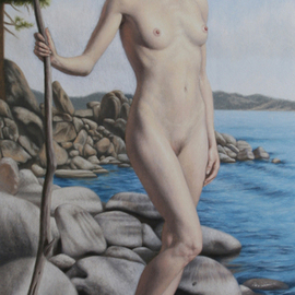 Seidai Tamura: 'Flower by the Lake', 2011 Oil Painting, nudes. Artist Description:  figurative, nudes, representational, realism, classical, female, traditional ...