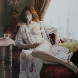 Seidai Tamura: 'Morning Tea', 2008 Oil Painting, nudes. Artist Description:  Oil on Masonite board, 24x 36, 2008. The image conceived at one of many historic houses located here in Reno. It has many elegant late 1800' s elements in it. A new model Rebecca did a very nice job posing. ...