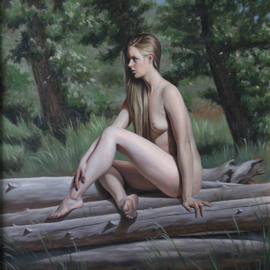 Seidai Tamura: 'Nymphe', 2006 Oil Painting, nudes. Artist Description:  2006, Oil on Masonite board, 14x 18.  Framed. ...