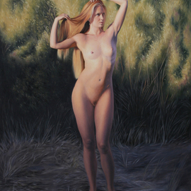 Seidai Tamura: 'Sunset at Oxbow', 2012 Oil Painting, Nudes. Artist Description:  figurative, nudes, representational, realism, classical, female nudes, traditional, artistic nudes ...