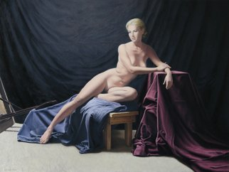 Seidai Tamura: 'american venus from bygone era', 2019 Oil Painting, Figurative. Academic figurative oil painting done on a Masonite board.  A traditional female nude rendered in a classical realism manner. ...