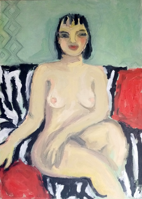 Selenia Bosso  'Nude On Zebra Sofa', created in 2020, Original Painting Oil.