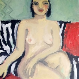 Selenia Bosso: 'nude on zebra sofa', 2020 Oil Painting, Nudes. Artist Description: Naked black- haired woman sitting on a black and white striped sofa and red cushions, with aqua green wall background...