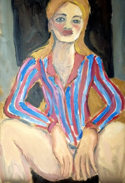 Selenia Bosso  'Woman With Striped Shirt', created in 2020, Original Painting Oil.