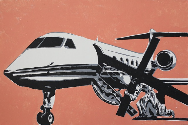 Artist Alexey Semibratsky. 'Golgotha Airline' Artwork Image, Created in 2017, Original Painting Oil. #art #artist