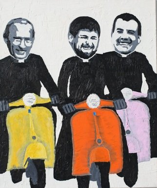 Alexey Semibratsky: 'happiness', 2017 Oil Painting, Political. Artist Description: Mr. Kadurov Mr. Putin and Mr. Medvedev on Vespas...