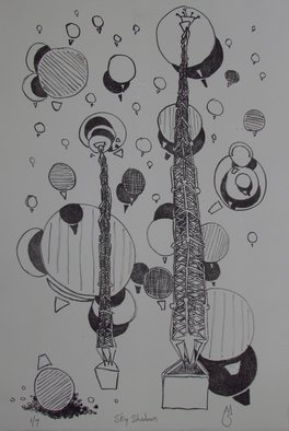 Michael Semsch: 'Sky Shadows', 2012 Lithograph, Abstract. Artist Description:  Sky Shadows is a lithography print depicting the two towers across the street from my home, where balloons sometimes fill the sky.   ...