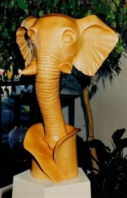 Michael Semsch: 'Trunked', 1994 Wood Sculpture, Animals. Artist Description:  Trunked depicts an elephant head supported by its trunk. The material is sugar pine. ...