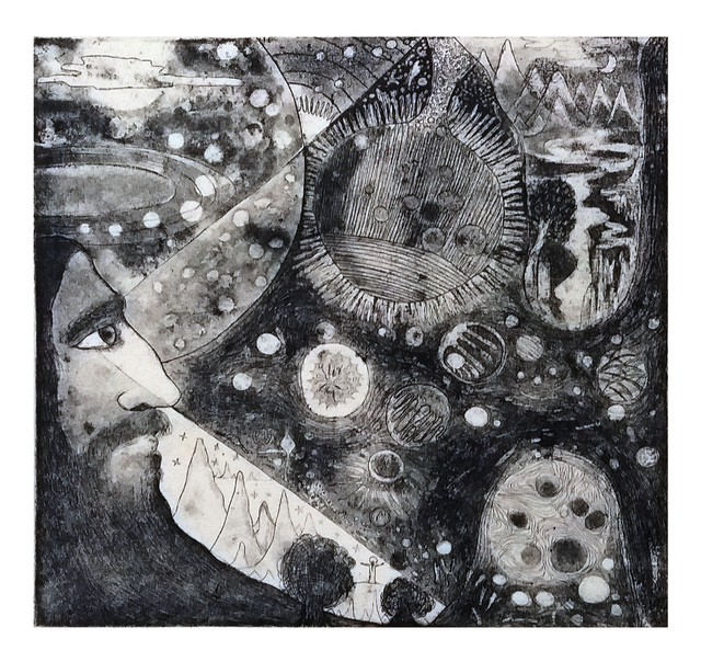 Senthilnathan Muthusamy  'Divine Cosmic Prapancha', created in 2008, Original Printmaking Etching - Open Edition.