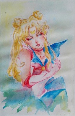 Gabriela Golda: 'usagi tsukino', 2017 Watercolor, Cartoon. Artist Description: Watercolor drawing of Usagi Tsukino from Sailor Moon...