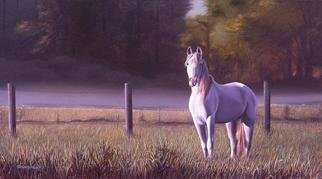 Sergio Gaspar Artwork 'El caballo blanco', 2005. Oil Painting. Animals. Artist Description: Realistic oil painting of a white horseon the field of grass......