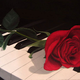 Sergio Zampieri: 'Jazz and rose', 2011 Oil Painting, Still Life. Artist Description:          Original oil painting on canvaspiano rose red black music  flowers field green clouds sky blue leaves autumn trees       ...