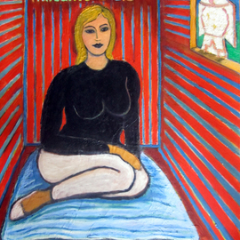 Susan Stewart: 'She Sits and Dreams in a room 2 small thoughts 2 big', 2010 Oil Painting, Figurative. Artist Description:     Dreams, woman, window, bright colors, expressionist, painting on shutter ...