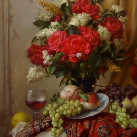 Dmitry Sevryukov: 'red roses', 2018 Oil Painting, Floral. Artist Description: Realism needs rehabilitation and a Flemish- style still life is exactly what is needed for this. I try to work with respect to the masters of previous eras and to the standards of painting of the Middle Ages. I hope that what I do will appeal to lovers ...