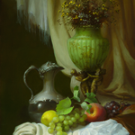 still life with a green vase By Dmitry Sevryukov