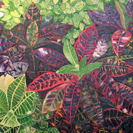 Steven Fleit: 'Floral Series 9', 2008 Acrylic Painting, Floral. Artist Description: Caribbean, floral, palm fronds, ...