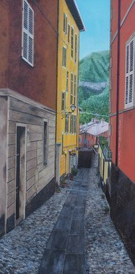 Steven Fleit: 'bellagio street scene', 2018 Acrylic Painting, Landscape. Artist Description: A street scene in the beautiful town of Bellagio, Italy on the shore of Lake Como. ...