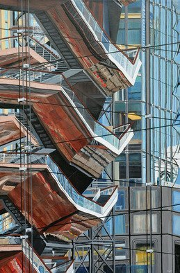 Steven Fleit: 'hudson yards reflection 4', 2019 Acrylic Painting, Cityscape. A unique walkway located at the Hudson Yards project in New York City, reflected off of adjacent buildings. This walkway is part of or close to, The Shed, a gallery entertainment complex. The varied colors and textures were quite interesting and fun to paint. ...