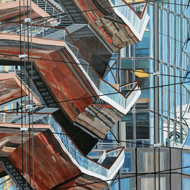 Steven Fleit: 'hudson yards reflection 4', 2019 Acrylic Painting, Cityscape. Artist Description: A unique walkway located at the Hudson Yards project in New York City, reflected off of adjacent buildings. This walkway is part of or close to, The Shed, a gallery entertainment complex. The varied colors and textures were quite interesting and fun to paint. ...
