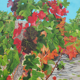 Steven Fleit: 'loire valley vineyard 1', 2018 Acrylic Painting, Landscape. Artist Description: An addition to my series of Vineyard paintings, this one from the Loire valley, France. Painting, Loire Valley, vineyards, wine, grape leafs. ...