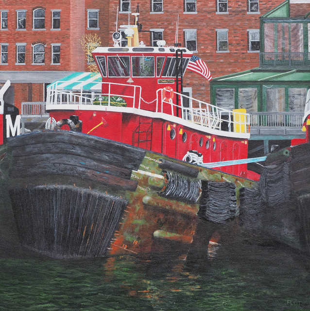Steven Fleit  'Portsmouth Tugboat', created in 2018, Original Painting Acrylic.