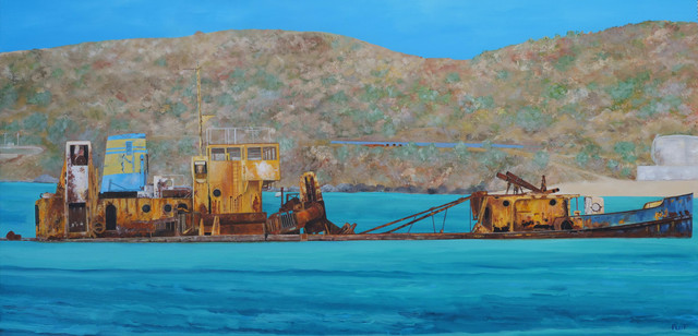 Steven Fleit  'St Martin Shipwreck El Maud', created in 2015, Original Painting Acrylic.