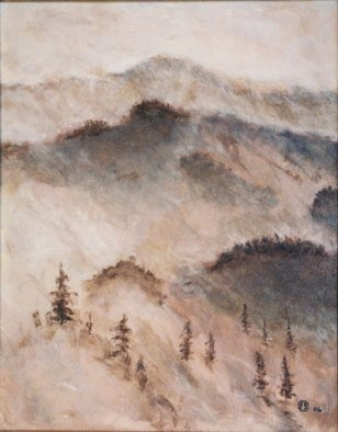 Landscape Acrylic Painting by Francis Sharp Title: mountain mist, created in 2006