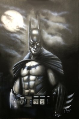 Stephen Fusco: 'Batman', 2013 Other Painting, People.          This is acrylic airbrush, Createx paint on board       ...