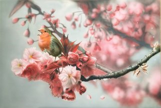 Stephen Fusco: 'Bird In A Cherry Tree', 2014 Other Painting, People.                   This is an airbrush done with Createx Illustration airbrush paint on 24x36 gessoed fiber board.               ...