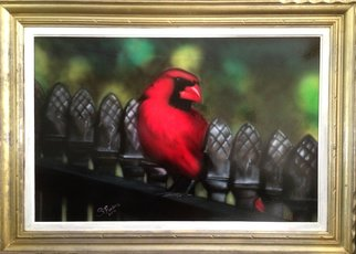 Stephen Fusco: 'Cardinal', 2014 Other Painting, Birds.             This is acrylic airbrush on board, framed.         ...