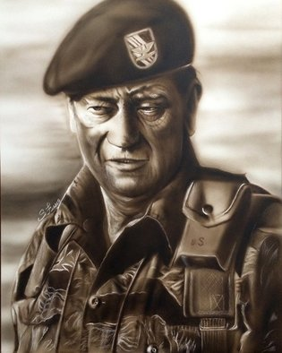 Stephen Fusco: 'The Duke', 2014 Other Painting, People.                 This is an airbrush portrait of John Wayne, done with Createx Illustration airbrush paint on 16x20 Aquaboard.             ...