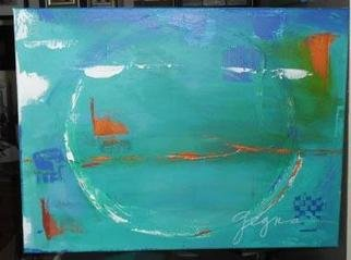 Suzanne Gegna: 'Blue Abstraction with Orange', 2013 Acrylic Painting, Abstract.  In this Abstract Painting I'm playing with color, movement and emotion.  It' s bright but peaceful. ...