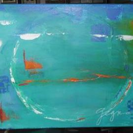 Blue Abstraction with Orange By Suzanne Gegna