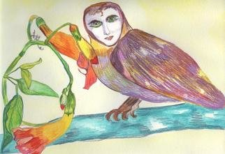 Artist Suzanne Gegna. 'THE POET AS AN OWL WITH HONEYSUCKLE' Artwork Image, Created in 2001, Original Textile. #art #artist