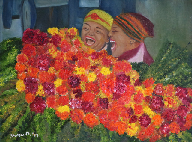 Sharon Dippenaar  'Flower Ladies Cape Town', created in 2018, Original Painting Oil.
