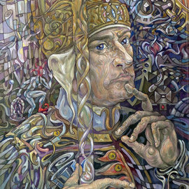 Giorgi Arutinov: 'KingofWands', 2016 Acrylic Painting, Spiritual. Artist Description:   Inspired by archetypes encoded in a tarot deck symbolism.  ...