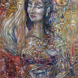 Giorgi Arutinov: 'QueenofPentacles', 2016 Acrylic Painting, Spiritual. Artist Description:   Inspired by archetypes encoded in a tarot deck symbolism.  ...
