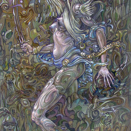 Giorgi Arutinov: 'QueenofSwords', 2016 Acrylic Painting, Spiritual. Artist Description:   Inspired by archetypes encoded in a tarot deck symbolism.  ...