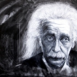 Bharti Yadav: 'einstein', 2014 Other Painting, Famous People. Artist Description: Painting in mix media on canvas. Very close tones in black and white.  Ball point pen and charcoal ...