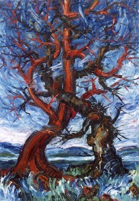 Shamil Usmanov: 'Two trees', 1991 Oil Painting, Expressionism. Artist Description:  tree, two, fight, good, evil ...