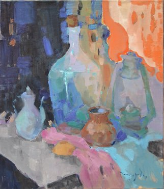 Artist: Alexander Shandor - Title: bottle and lamp - Medium: Oil Painting - Year: 2017