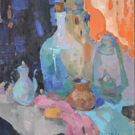Alexander Shandor: 'bottle and lamp', 2017 Oil Painting, Still Life. Artist Description: Year 2017Technique: oil on canvasDimensions: 60N70Alexander Shandor is an Ukrainian artist, who was born in 1981. He is presently residing there. Master graduated from the Erdeli college, specializing in the metals processing.Alex is working with an oil on canvas or with a water ...