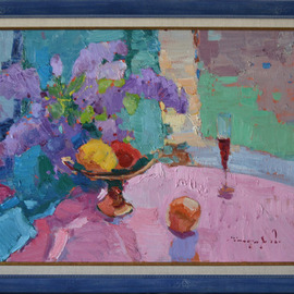 Alexander Shandor: 'near the window', 2020 Oil Painting, Still Life. Artist Description: Near the window _ oil on cardboard...