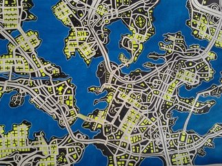 Shane Watt: 'City in the Dark', 2013 Other Drawing, Maps. Artist Description:  A flood map based on a satellite photo of South Florida. The map references American culture and politics. ...