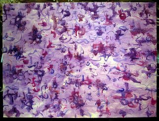 Richard Lazzara: 'PURPLE PLEXUS', 1975 Watercolor, Healing.   A wealth of calligraphy greets us in this