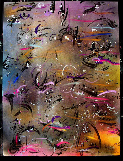 Richard Lazzara  'TRAPPED PARTICLES', created in 1985, Original Pastel.
