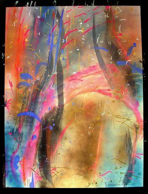 Artist: Richard Lazzara - Title: UNFOLDING VISUALISM - Medium: Calligraphy - Year: 1987