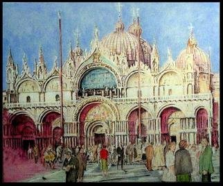 Richard Lazzara: 'Venetia Lazzara San Marco Piazza toward  Cathedral', 2004 Other Painting, Culture. Venetia Lazzara San Marco Piazza toward Cathedral 2004 from the folio