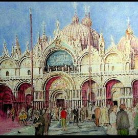 Richard Lazzara: 'Venetia Lazzara San Marco Piazza toward  Cathedral', 2004 Other Painting, Culture. Artist Description: Venetia Lazzara San Marco Piazza toward Cathedral 2004 from the folio