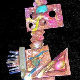 Richard Lazzara: 'big eyed pin ornament', 1989 Mixed Media Sculpture, Fashion. Artist Description: big eyed pin ornament from the folio LAZZARA ILLUMINATION DESIGN is available at